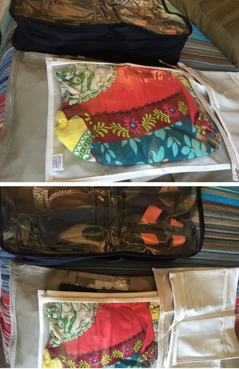 Os organizadores de mala deixam tudo organizadinho dentro da sua mala. Uma forma de otimizar espaço e não fazer aquela bagunça durante a viagem =)