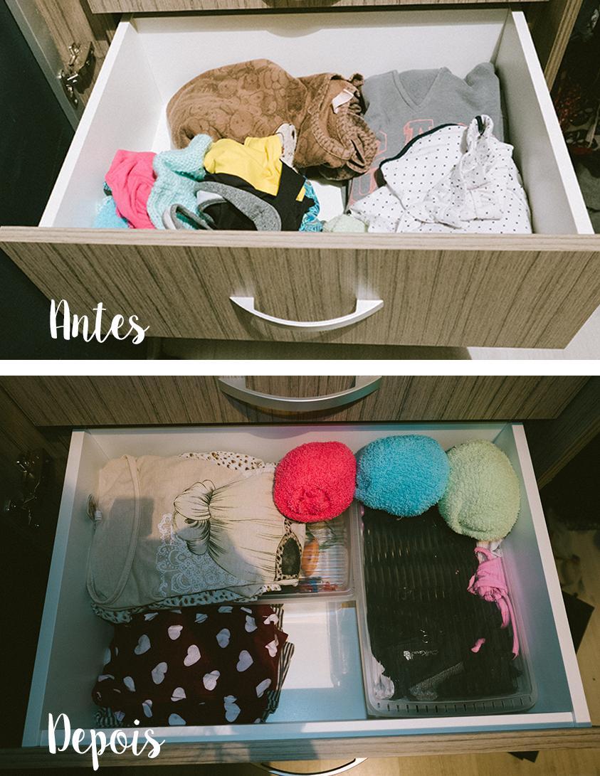Essa era a antiga gaveta dos pijamas. Nas inbox, estão agora lingeries e acima pijamas e camisolas.